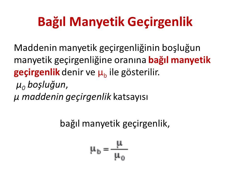 Bağıl Manyetik Geçirgenlik Maddenin manyetik geçirgenliğinin boşluğun manyetik geçirgenliğine oranına bağıl manyetik geçirgenlik denir ve μ b ile gösterilir.