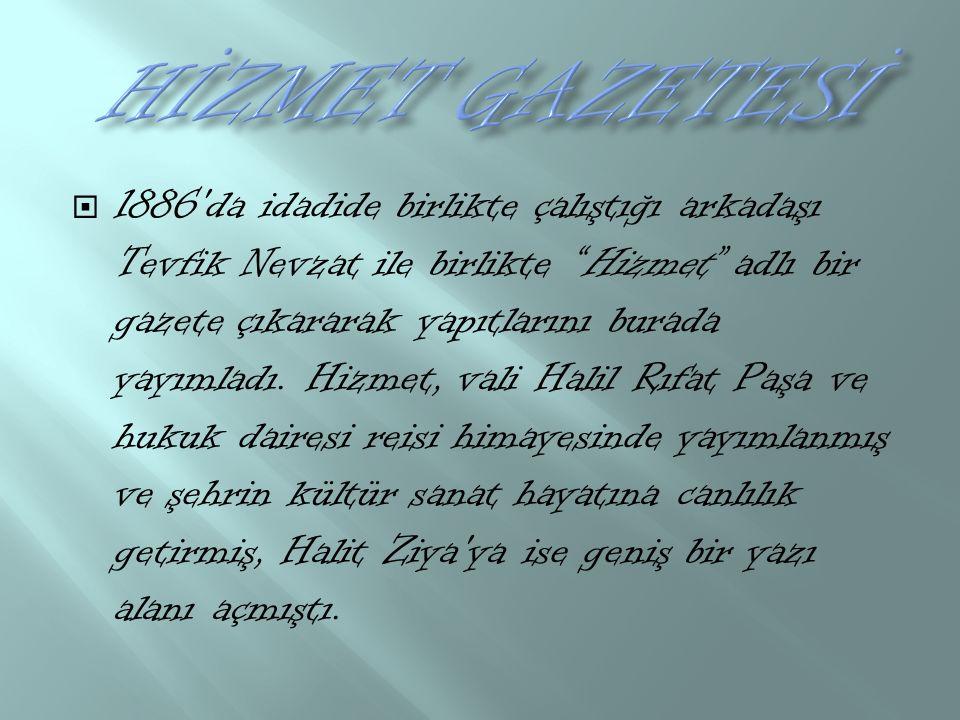  1886 da idadide birlikte çalıştığı arkadaşı Tevfik Nevzat ile birlikte Hizmet adlı bir gazete çıkararak yapıtlarını burada yayımladı.