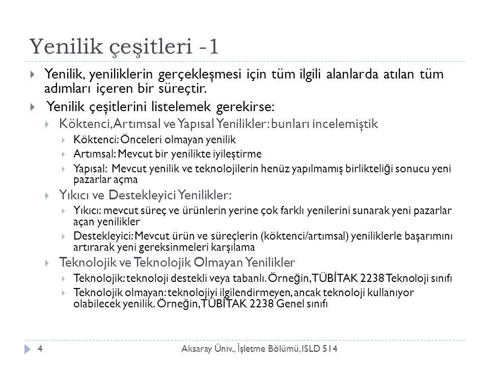 Yenilik çeşitleri -2 Aksaray Üniv., İ şletme Bölümü, ISLD 5145  Toplumsal Yenilikler:  Toplumu ilgilendiren etkinliklerin toplum yararına uygulanması.