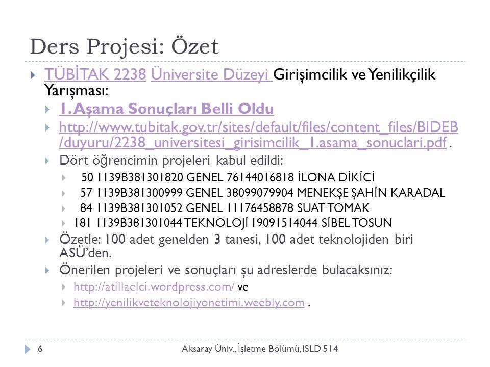 Ders Projesi: Özet Aksaray Üniv., İ şletme Bölümü, ISLD 5146  TÜB İ TAK 2238 Üniversite Düzeyi Girişimcilik ve Yenilikçilik Yarışması: TÜB İ TAK 2238