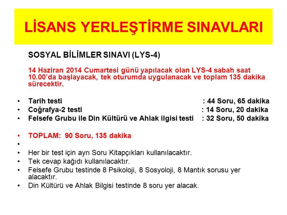LİSANS YERLEŞTİRME SINAVLARI SOSYAL BİLİMLER SINAVI (LYS-4) 14 Haziran 2014 Cumartesi günü yapılacak olan LYS-4 sabah saat 10.00'da başlayacak, tek oturumda uygulanacak ve toplam 135 dakika sürecektir.