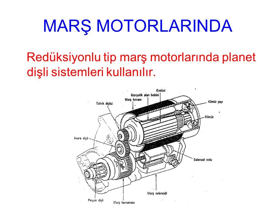 MARŞ MOTORLARINDA Redüksiyonlu tip marş motorlarında planet dişli sistemleri kullanılır.