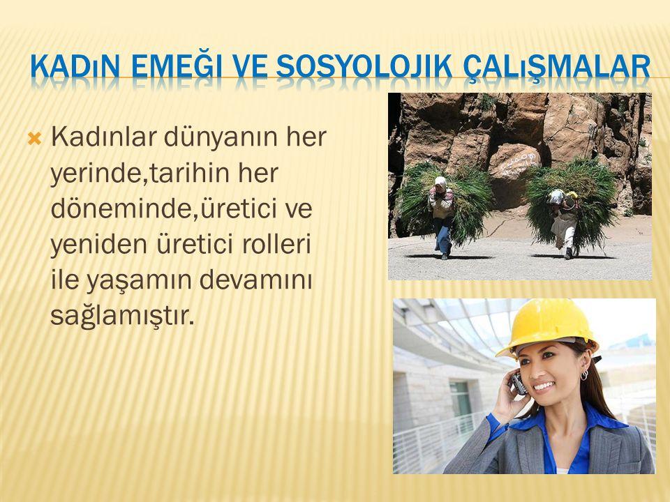 Kadınların emek piyasasına katılımı,yani istihdamı erkeklerin katılımından düşüktür.Türkiye de kentlerde kadınların istihdam oranı %17 iken bu oran kırsal kesimlerde %35 tir.Tarımda çalışın kadınların çok büyük çoğunluğu ücretsiz aile işçisi olarak çalışmaktadır.