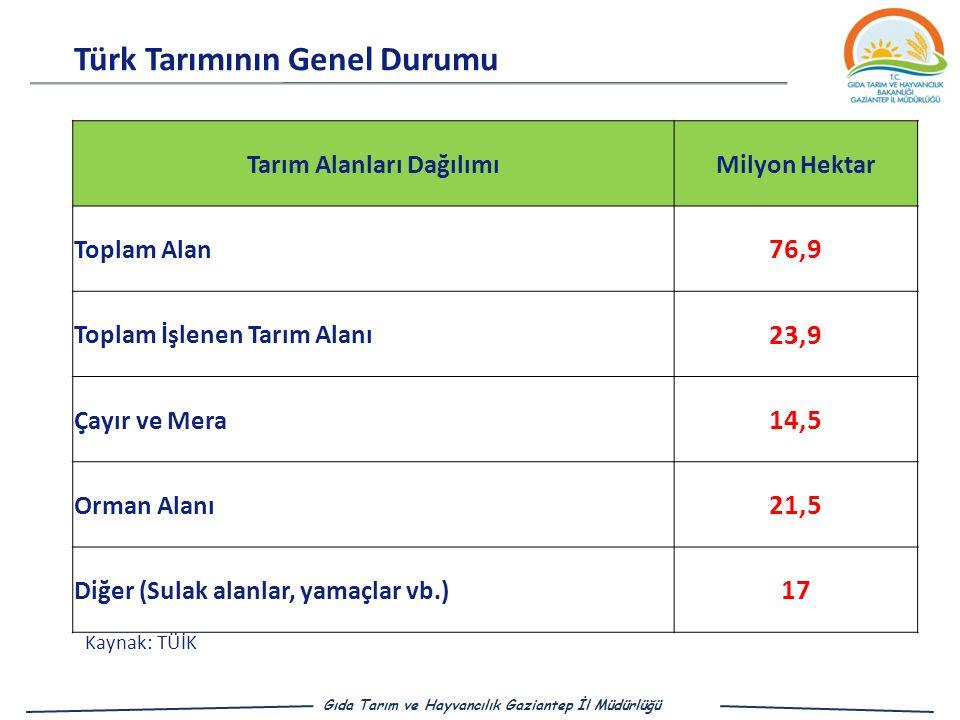 Türk Tarımının Genel Durumu Gıda Tarım ve Hayvancılık Gaziantep İl Müdürlüğü Tarım Alanları DağılımıMilyon Hektar Toplam Alan 76,9 Toplam İşlenen Tarım Alanı 23,9 Çayır ve Mera 14,5 Orman Alanı 21,5 Diğer (Sulak alanlar, yamaçlar vb.) 17 Kaynak: TÜİK