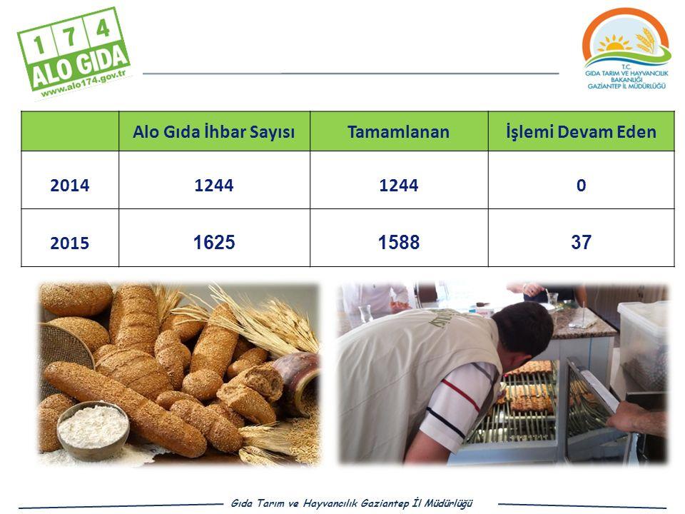 Alo Gıda İhbar SayısıTamamlananİşlemi Devam Eden 20141244 0 2015 1625158837 Gıda Tarım ve Hayvancılık Gaziantep İl Müdürlüğü
