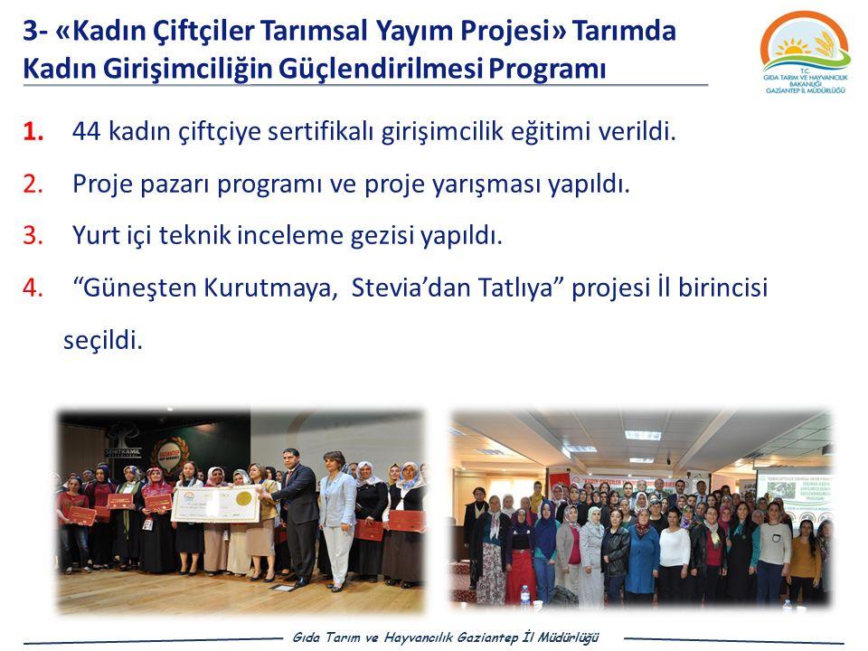 3- «Kadın Çiftçiler Tarımsal Yayım Projesi» Tarımda Kadın Girişimciliğin Güçlendirilmesi Programı 1.