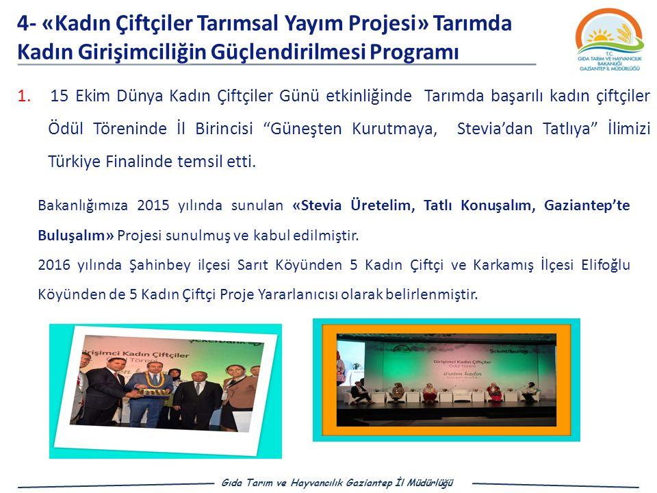 4- «Kadın Çiftçiler Tarımsal Yayım Projesi» Tarımda Kadın Girişimciliğin Güçlendirilmesi Programı 1.15 Ekim Dünya Kadın Çiftçiler Günü etkinliğinde Tarımda başarılı kadın çiftçiler Ödül Töreninde İl Birincisi Güneşten Kurutmaya, Stevia'dan Tatlıya İlimizi Türkiye Finalinde temsil etti.