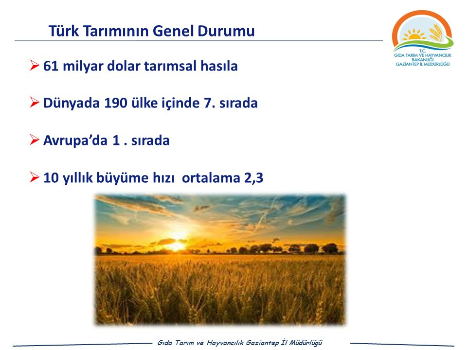  61 milyar dolar tarımsal hasıla  Dünyada 190 ülke içinde 7.