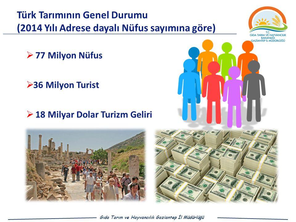  77 Milyon Nüfus  36 Milyon Turist  18 Milyar Dolar Turizm Geliri Türk Tarımının Genel Durumu (2014 Yılı Adrese dayalı Nüfus sayımına göre) Gıda Tarım ve Hayvancılık Gaziantep İl Müdürlüğü