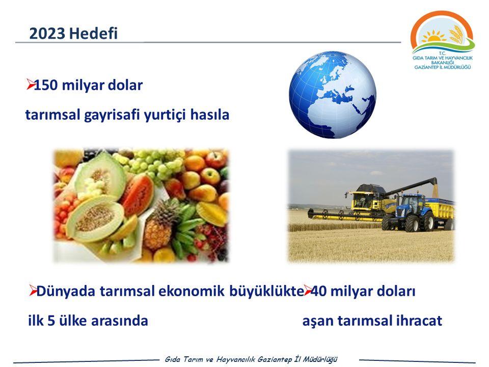  Dünyada tarımsal ekonomik büyüklükte ilk 5 ülke arasında 2023 Hedefi  150 milyar dolar tarımsal gayrisafi yurtiçi hasıla  40 milyar doları aşan tarımsal ihracat Gıda Tarım ve Hayvancılık Gaziantep İl Müdürlüğü