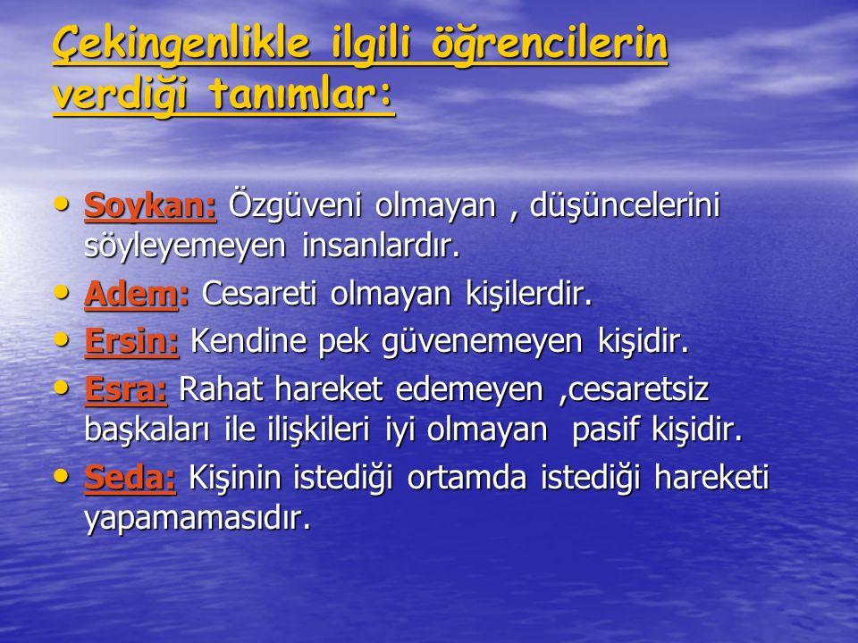 Saldırganlıkla ilgili öğrencilerin verdiği tanımlar : Adem:Konuşmayan insanlardır Adem:Konuşmayan insanlardır Ebru: Sinirli olan insanlardır.