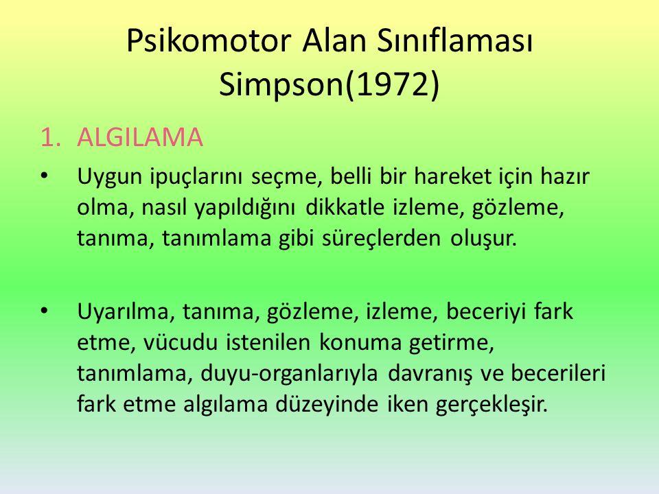Psikomotor Alan Sınıflaması Simpson(1972) 1.ALGILAMA Uygun ipuçlarını seçme, belli bir hareket için hazır olma, nasıl yapıldığını dikkatle izleme, gözleme, tanıma, tanımlama gibi süreçlerden oluşur.