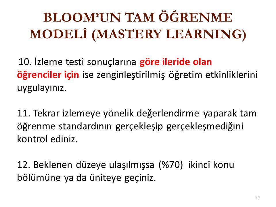 ÖRNEK SORU Aşağıdaki eğitim etkinliklerinden hangisi tam öğrenme modeli için uygun değildir.