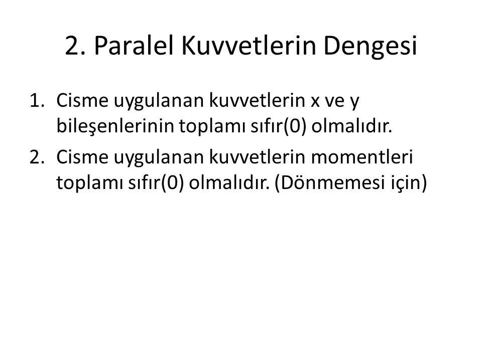 2. Paralel Kuvvetlerin Dengesi 1.Cisme uygulanan kuvvetlerin x ve y bileşenlerinin toplamı sıfır(0) olmalıdır. 2.Cisme uygulanan kuvvetlerin momentler
