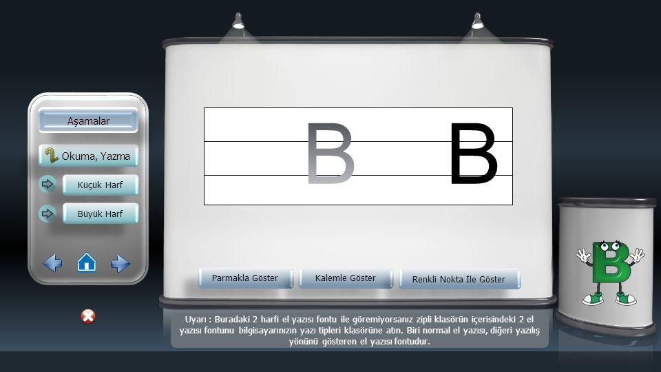 Okuma, Yazma Aşamalar Küçük Harf Büyük Harf Parmakla Göster Kalemle Göster Renkli Nokta İle Göster b Uyarı : Buradaki 2 harfi el yazısı fontu ile göre