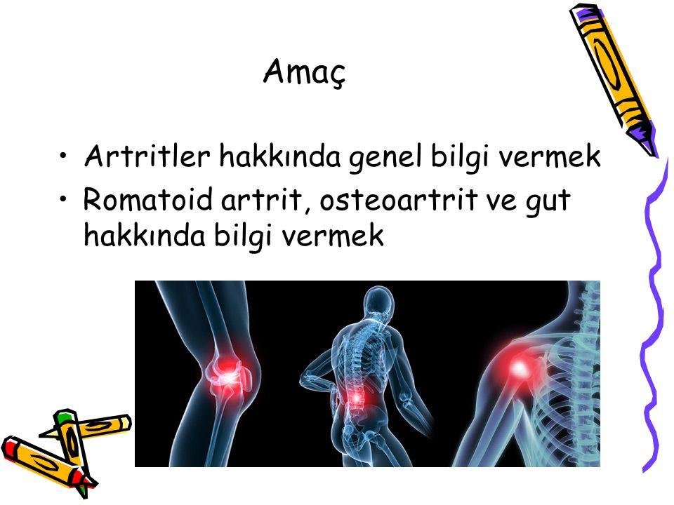Öğrenim Hedefleri Artrit nedir açıklayabilmek Artritli hastadan anamnez alırken dikkat edilecek noktaları sayabilmek Gut artritinin klinik belirtilerini açıklayabilmek Romatoid artritin özelliklerini sayabilmek İnflamatuar ve non-inflamatuar artritleri ayıran özellikleri sayabilmek Osteoartrit tedavi yaklaşımını açıklayabilmek