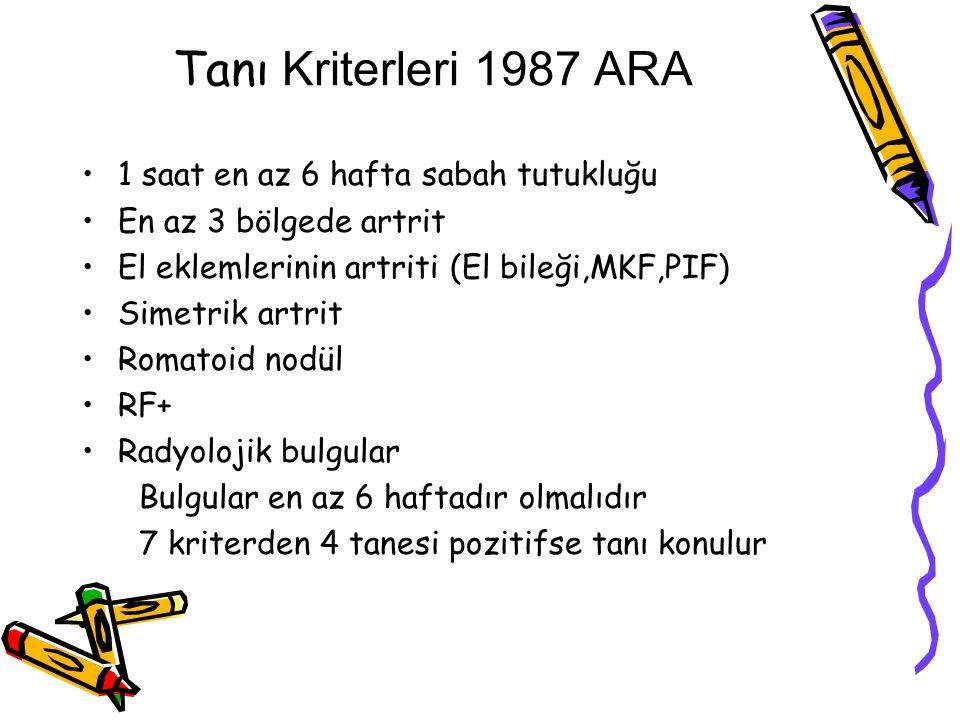 Tanı Kriterleri 1987 ARA 1 saat en az 6 hafta sabah tutukluğu En az 3 bölgede artrit El eklemlerinin artriti (El bileği,MKF,PIF) Simetrik artrit Romat