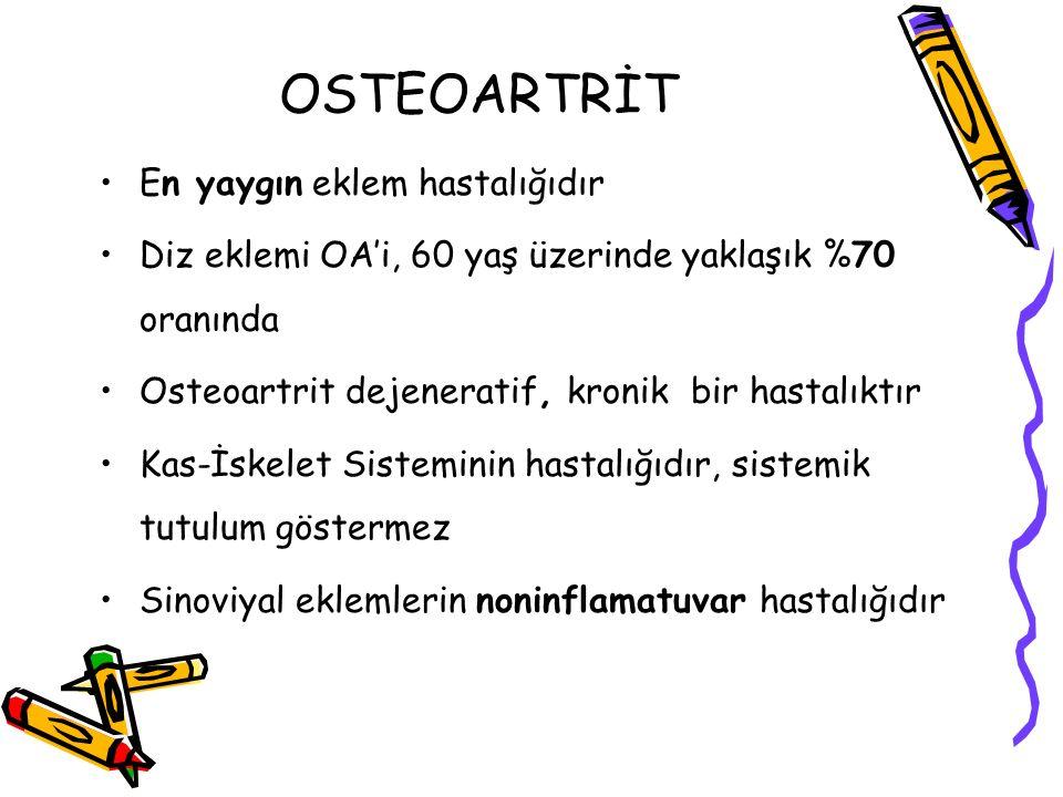 OSTEOARTRİT En yaygın eklem hastalığıdır Diz eklemi OA'i, 60 yaş üzerinde yaklaşık %70 oranında Osteoartrit dejeneratif, kronik bir hastalıktır Kas-İs