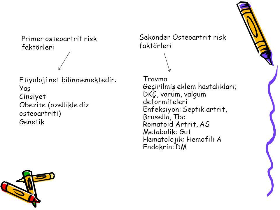Primer osteoartrit risk faktörleri Sekonder Osteoartrit risk faktörleri Etiyoloji net bilinmemektedir. Yaş Cinsiyet Obezite (özellikle diz osteoartrit