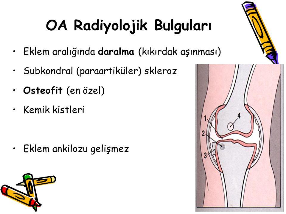OA Radiyolojik Bulguları Eklem aralığında daralma (kıkırdak aşınması) Subkondral (paraartiküler) skleroz Osteofit (en özel) Kemik kistleri Eklem ankil