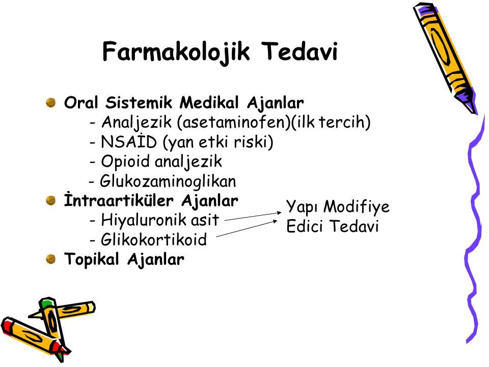 Hiyaluronik asit enjeksiyonu (intraartiküler) Glikoz amino glikan (GAG) (oral) (yararı net bilinmiyor)