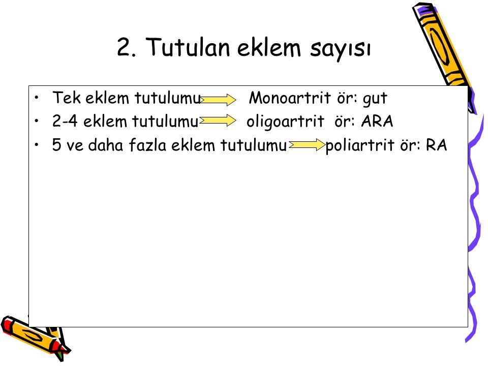 2. Tutulan eklem sayısı Tek eklem tutulumu Monoartrit ör: gut 2-4 eklem tutulumu oligoartrit ör: ARA 5 ve daha fazla eklem tutulumu poliartrit ör: RA