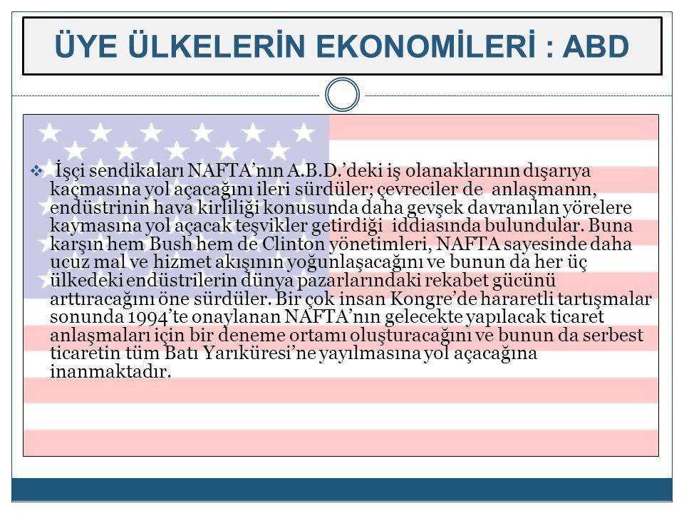 ÜYE ÜLKELERİN EKONOMİLERİ : ABD  İşçi sendikaları NAFTA'nın A.B.D.'deki iş olanaklarının dışarıya kaçmasına yol açacağını ileri sürdüler; çevreciler