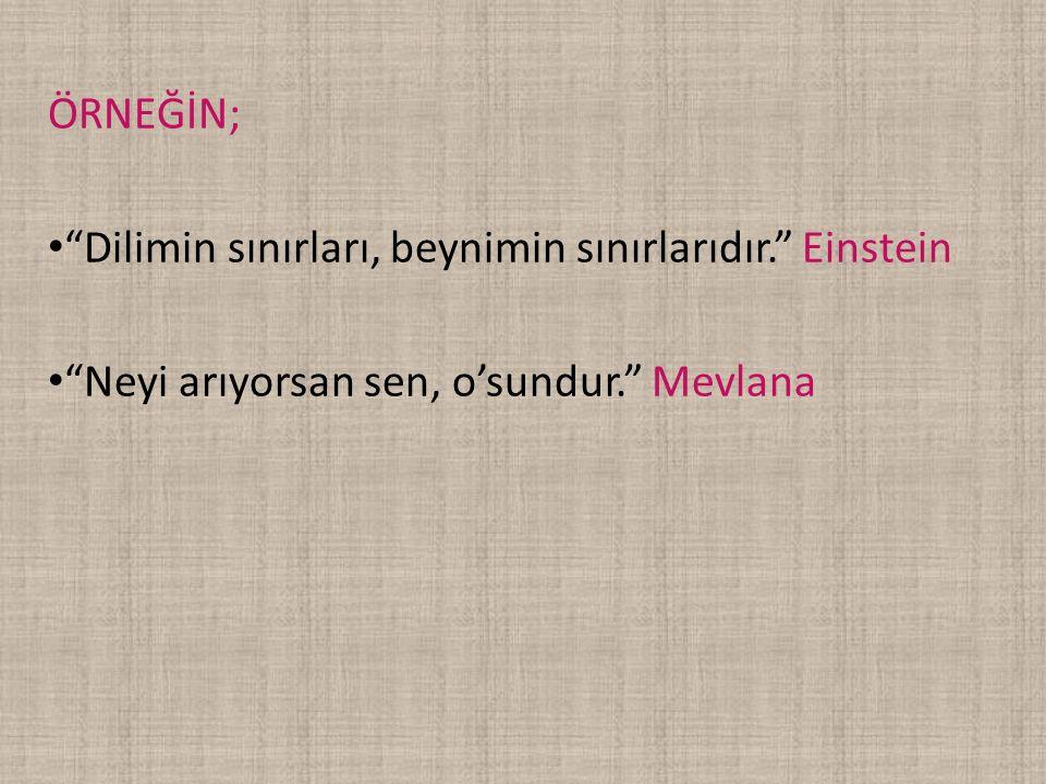 """ÖRNEĞİN; """"Dilimin sınırları, beynimin sınırlarıdır."""" Einstein """"Neyi arıyorsan sen, o'sundur."""" Mevlana"""