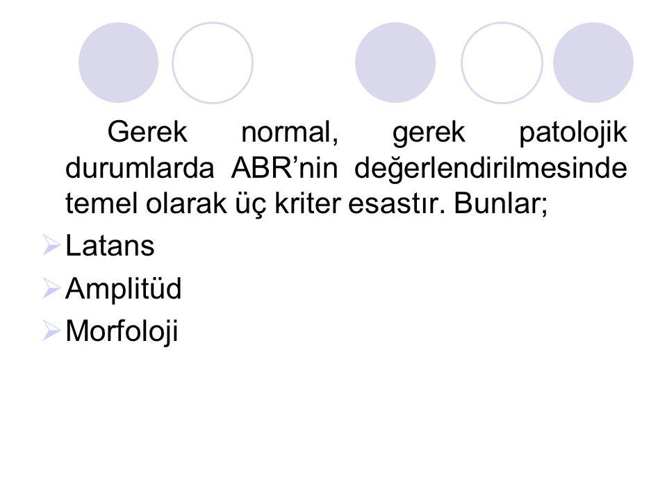Gerek normal, gerek patolojik durumlarda ABR'nin değerlendirilmesinde temel olarak üç kriter esastır. Bunlar;  Latans  Amplitüd  Morfoloji