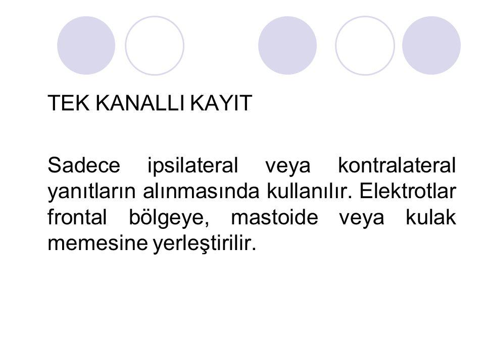 TEK KANALLI KAYIT Sadece ipsilateral veya kontralateral yanıtların alınmasında kullanılır. Elektrotlar frontal bölgeye, mastoide veya kulak memesine y