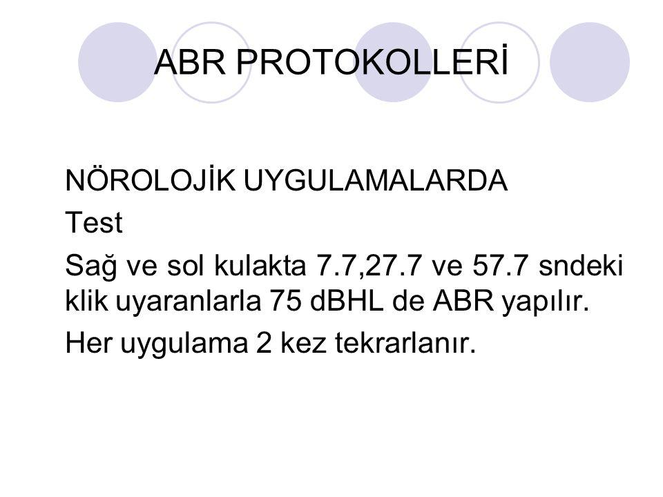 ABR PROTOKOLLERİ NÖROLOJİK UYGULAMALARDA Test Sağ ve sol kulakta 7.7,27.7 ve 57.7 sndeki klik uyaranlarla 75 dBHL de ABR yapılır. Her uygulama 2 kez t