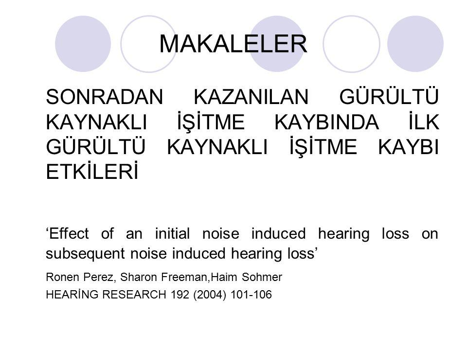 MAKALELER SONRADAN KAZANILAN GÜRÜLTÜ KAYNAKLI İŞİTME KAYBINDA İLK GÜRÜLTÜ KAYNAKLI İŞİTME KAYBI ETKİLERİ 'Effect of an initial noise induced hearing l
