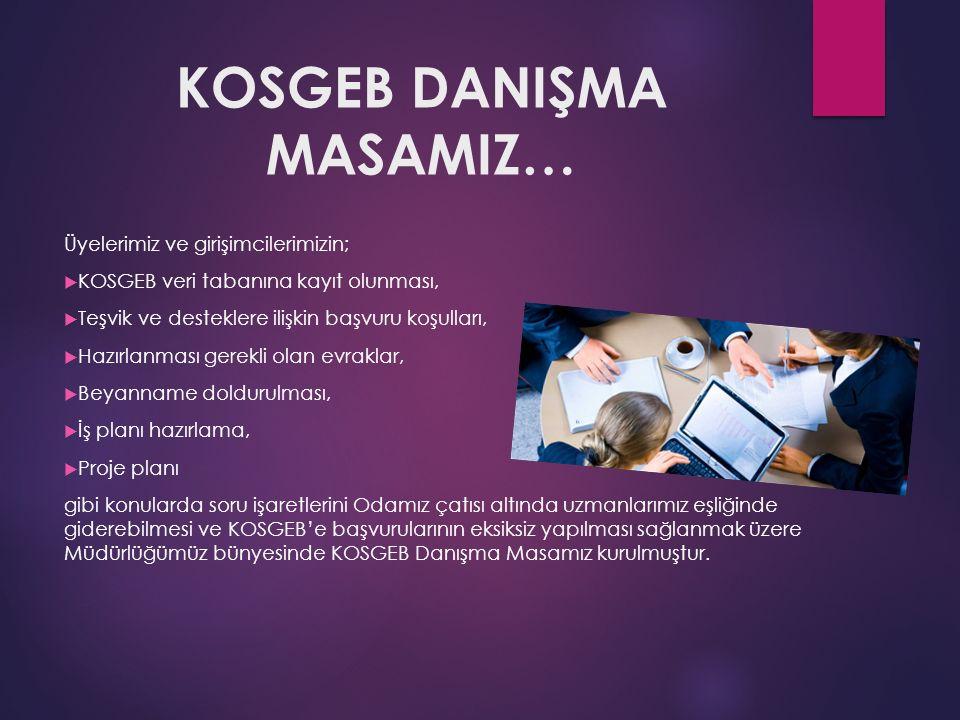 KOSGEB DANIŞMA MASAMIZ… Üyelerimiz ve girişimcilerimizin;  KOSGEB veri tabanına kayıt olunması,  Teşvik ve desteklere ilişkin başvuru koşulları,  H