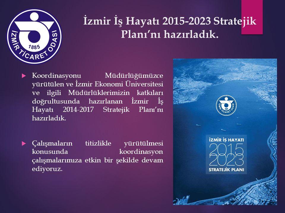 İzmir İş Hayatı 2015-2023 Stratejik Planı'nı hazırladık.  Koordinasyonu Müdürlüğümüzce yürütülen ve İzmir Ekonomi Üniversitesi ve ilgili Müdürlükleri
