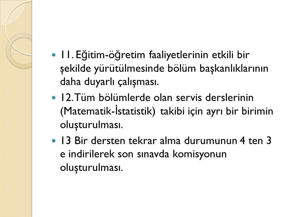 11. E ğ itim-ö ğ retim faaliyetlerinin etkili bir şekilde yürütülmesinde bölüm başkanlıklarının daha duyarlı çalışması. 12. Tüm bölümlerde olan servis