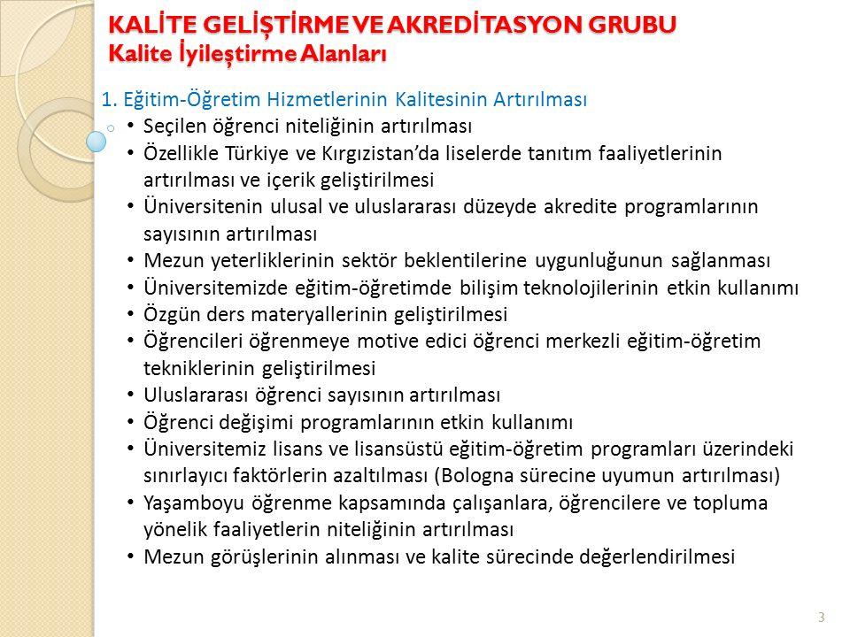 1. Eğitim-Öğretim Hizmetlerinin Kalitesinin Artırılması Seçilen öğrenci niteliğinin artırılması Özellikle Türkiye ve Kırgızistan'da liselerde tanıtım