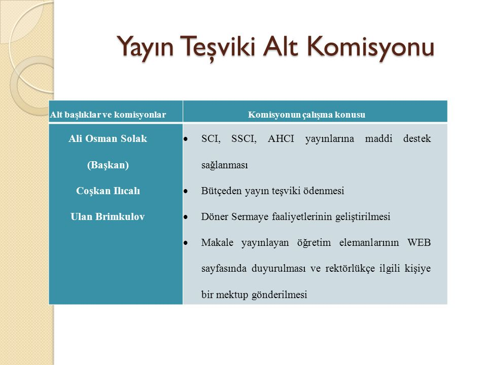 Yayın Teşviki Alt Komisyonu Alt başlıklar ve komisyonlarKomisyonun çalışma konusu Ali Osman Solak (Başkan) Coşkan Ilıcalı Ulan Brimkulov  SCI, SSCI,