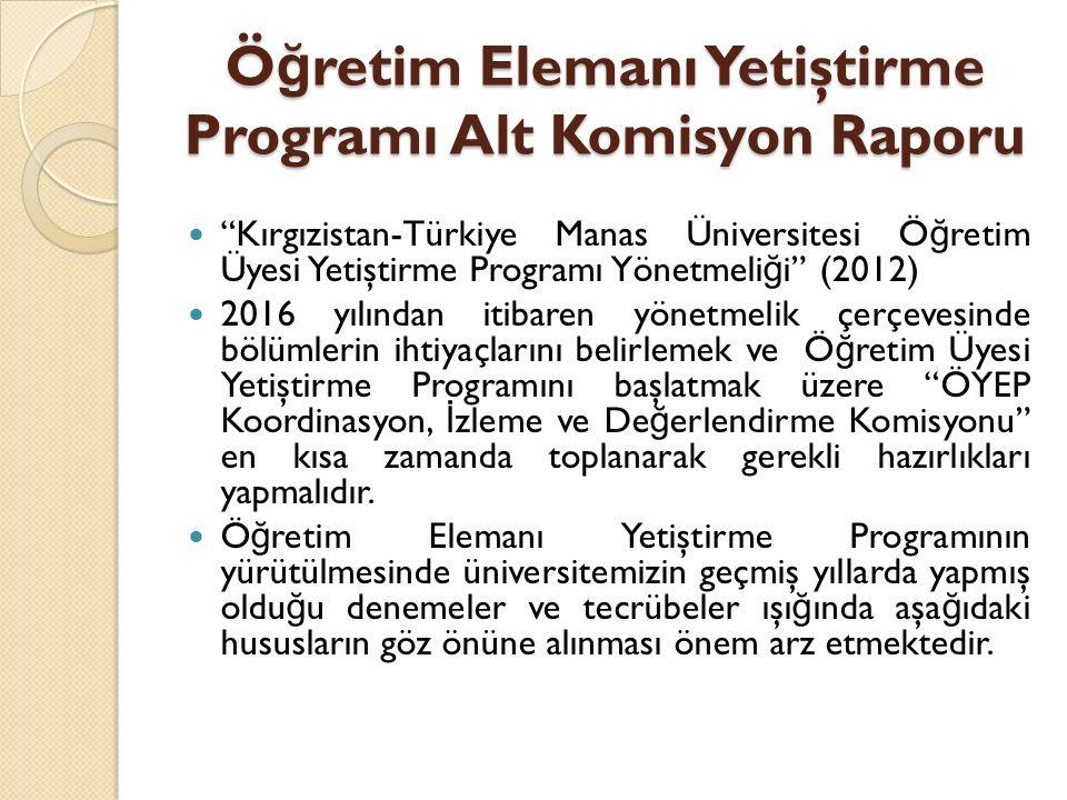 """Ö ğ retim Elemanı Yetiştirme Programı Alt Komisyon Raporu """"Kırgızistan-Türkiye Manas Üniversitesi Ö ğ retim Üyesi Yetiştirme Programı Yönetmeli ğ i"""" ("""