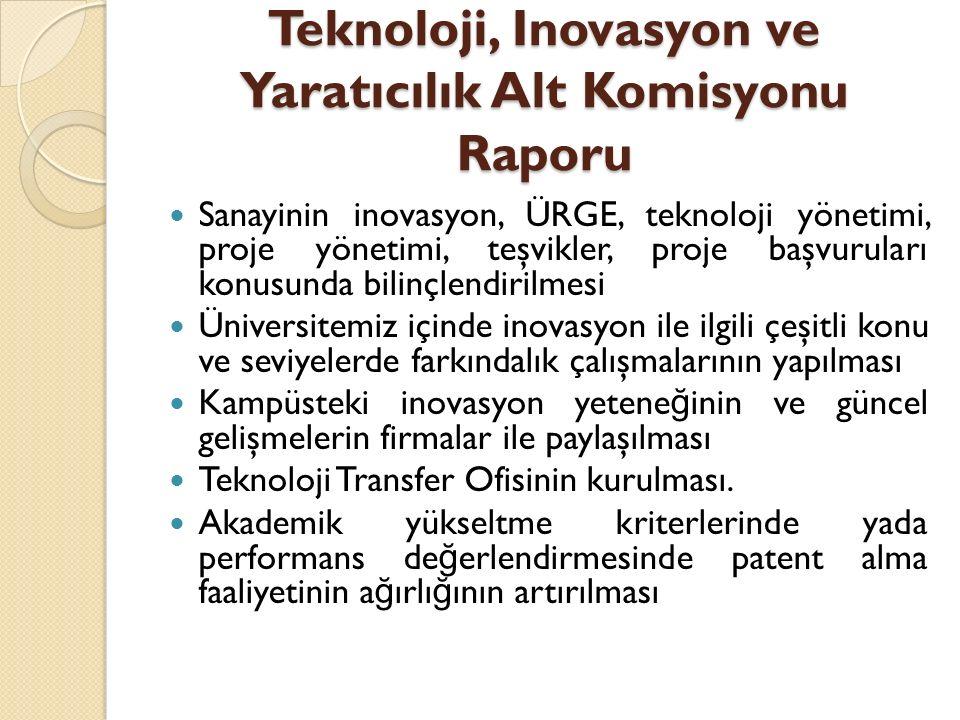 Teknoloji, Inovasyon ve Yaratıcılık Alt Komisyonu Raporu Sanayinin inovasyon, ÜRGE, teknoloji yönetimi, proje yönetimi, teşvikler, proje başvuruları k