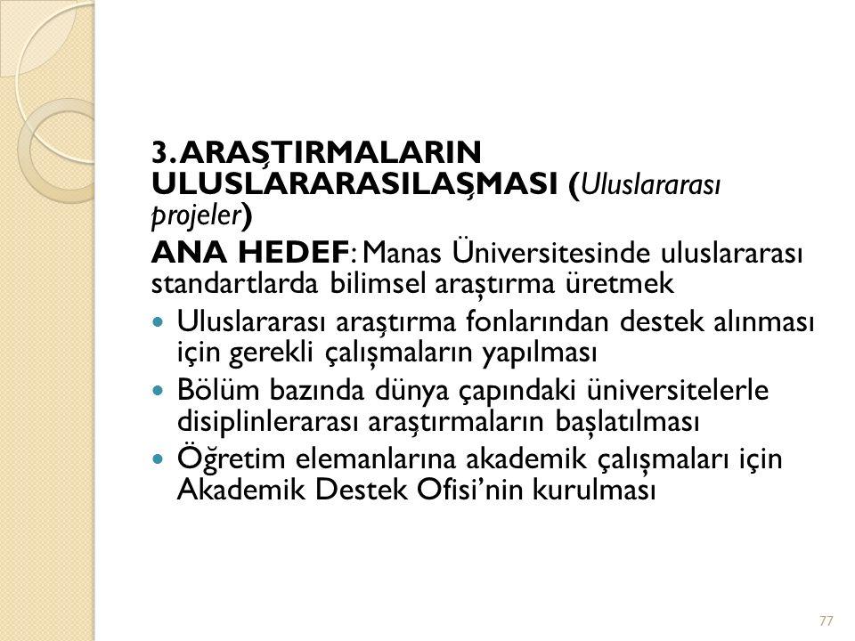 3. ARAS ̧ TIRMALARIN ULUSLARARASILAS ̧ MASI (Uluslararası projeler) ANA HEDEF: Manas Üniversitesinde uluslararası standartlarda bilimsel araştırma üre