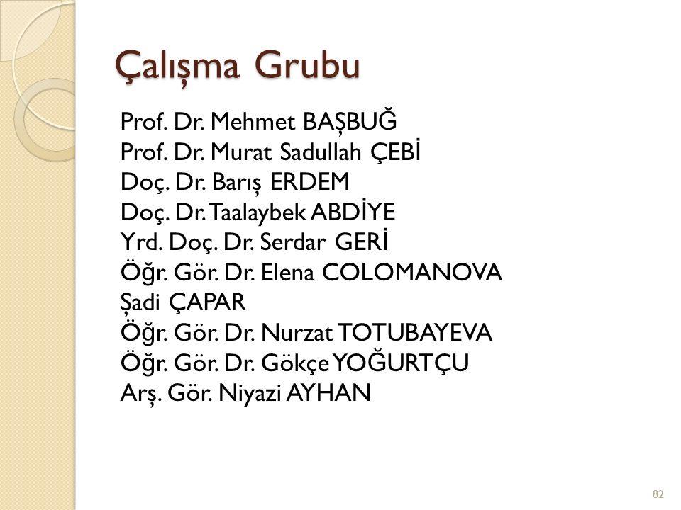 Çalışma Grubu Prof. Dr. Mehmet BAŞBU Ğ Prof. Dr. Murat Sadullah ÇEB İ Doç. Dr. Barış ERDEM Doç. Dr. Taalaybek ABD İ YE Yrd. Doç. Dr. Serdar GER İ Ö ğ
