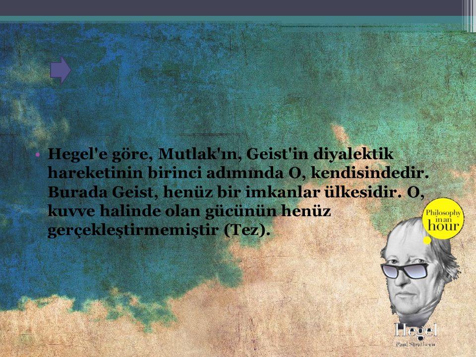 Hegel'e göre, filozofun yapması gereken şey, düşüncenin tanımlanan şekilde kendi mantıksal akışını izlemesine izin vermektir. Bu süreç tam olarak ve g