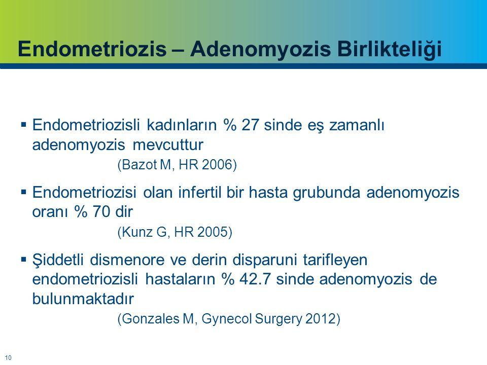 10 Endometriozis – Adenomyozis Birlikteliği  Endometriozisli kadınların % 27 sinde eş zamanlı adenomyozis mevcuttur (Bazot M, HR 2006)  Endometriozisi olan infertil bir hasta grubunda adenomyozis oranı % 70 dir (Kunz G, HR 2005)  Şiddetli dismenore ve derin disparuni tarifleyen endometriozisli hastaların % 42.7 sinde adenomyozis de bulunmaktadır (Gonzales M, Gynecol Surgery 2012)