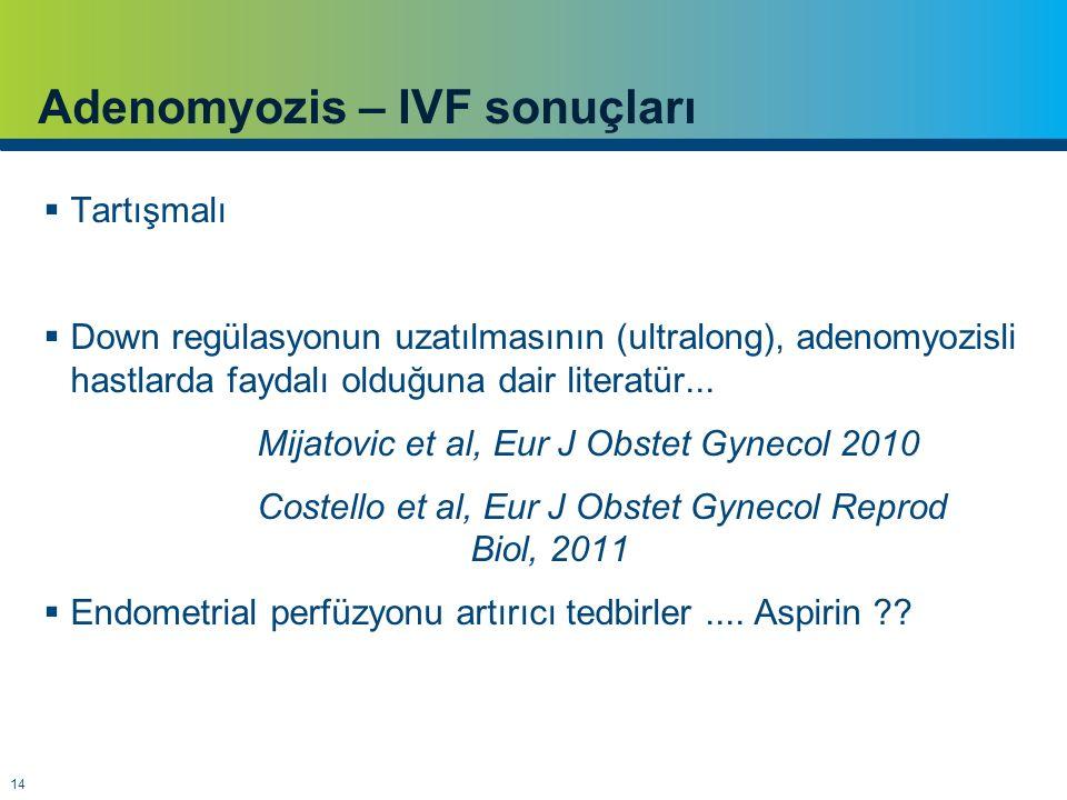 14 Adenomyozis – IVF sonuçları  Tartışmalı  Down regülasyonun uzatılmasının (ultralong), adenomyozisli hastlarda faydalı olduğuna dair literatür...