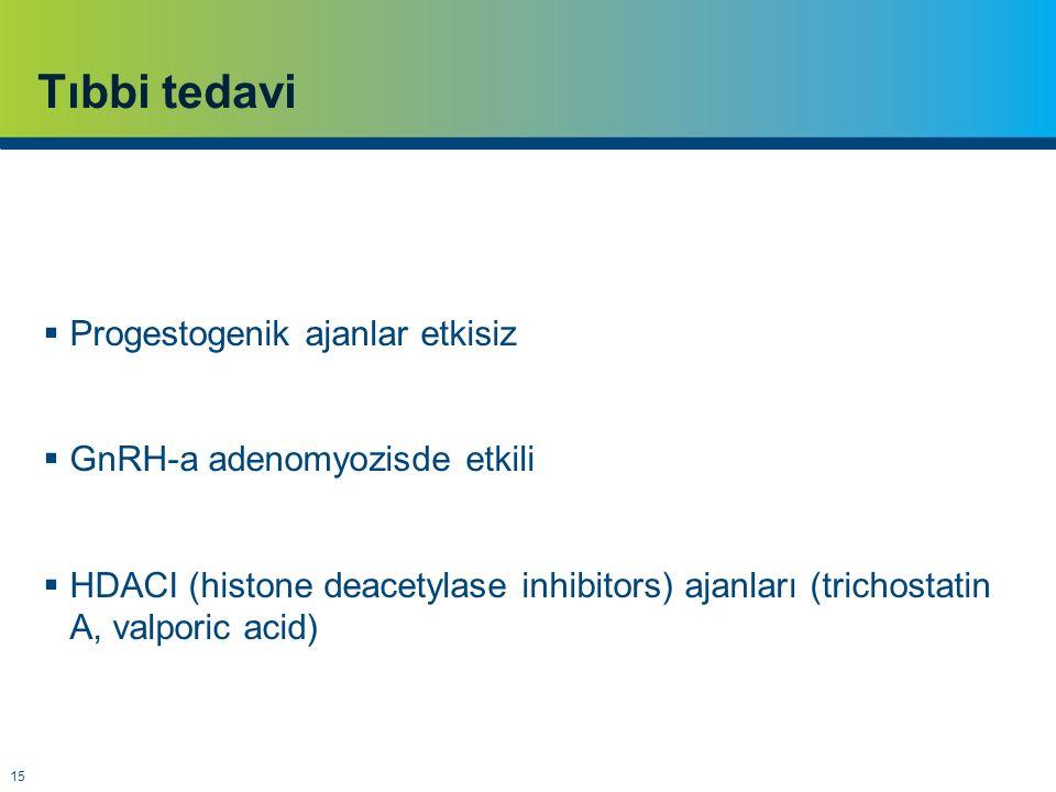 15 Tıbbi tedavi  Progestogenik ajanlar etkisiz  GnRH-a adenomyozisde etkili  HDACI (histone deacetylase inhibitors) ajanları (trichostatin A, valporic acid)
