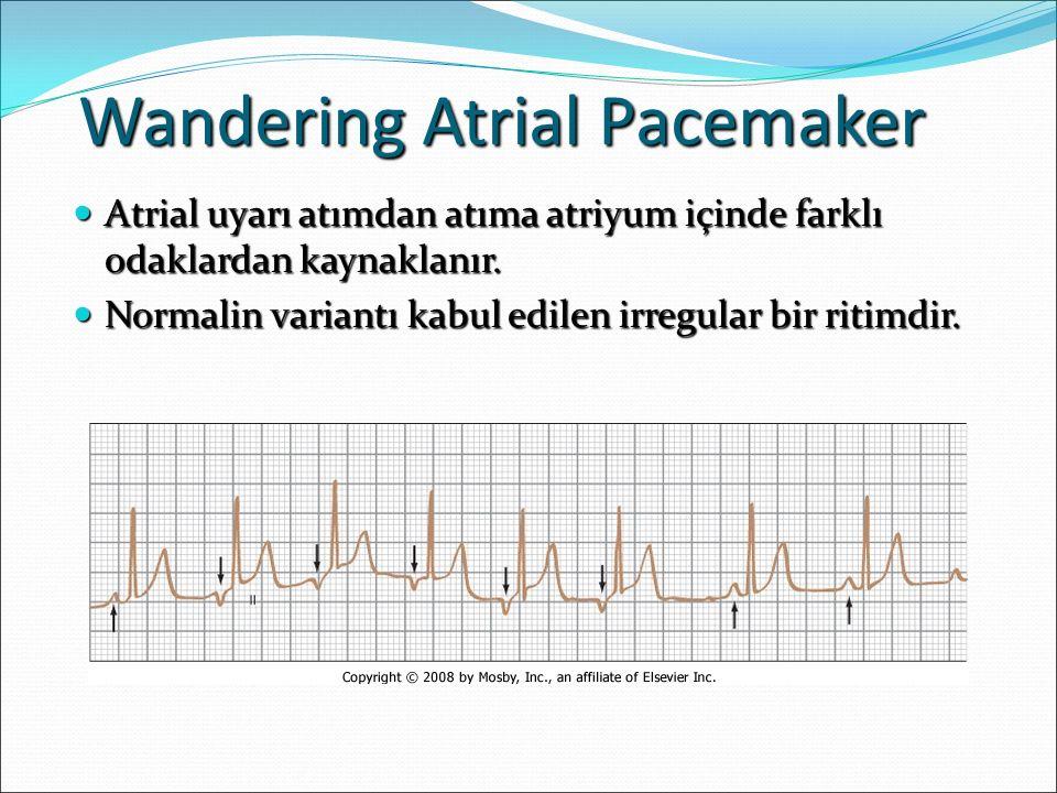 Wandering Atrial Pacemaker Atrial uyarı atımdan atıma atriyum içinde farklı odaklardan kaynaklanır. Atrial uyarı atımdan atıma atriyum içinde farklı o