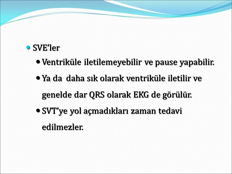 SVE'ler SVE'ler Ventriküle iletilemeyebilir ve pause yapabilir. Ventriküle iletilemeyebilir ve pause yapabilir. Ya da daha sık olarak ventriküle ileti
