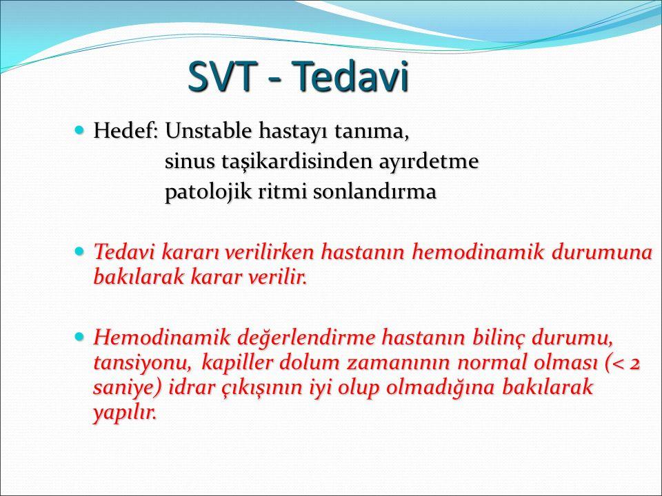 SVT - Tedavi Hedef: Unstable hastayı tanıma, Hedef: Unstable hastayı tanıma, sinus taşikardisinden ayırdetme sinus taşikardisinden ayırdetme patolojik ritmi sonlandırma patolojik ritmi sonlandırma Tedavi kararı verilirken hastanın hemodinamik durumuna bakılarak karar verilir.
