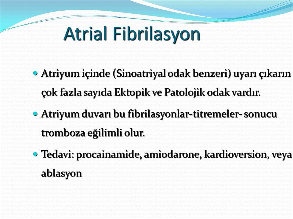 Atrial Fibrilasyon Atriyum içinde (Sinoatriyal odak benzeri) uyarı çıkarın çok fazla sayıda Ektopik ve Patolojik odak vardır. Atriyum içinde (Sinoatri