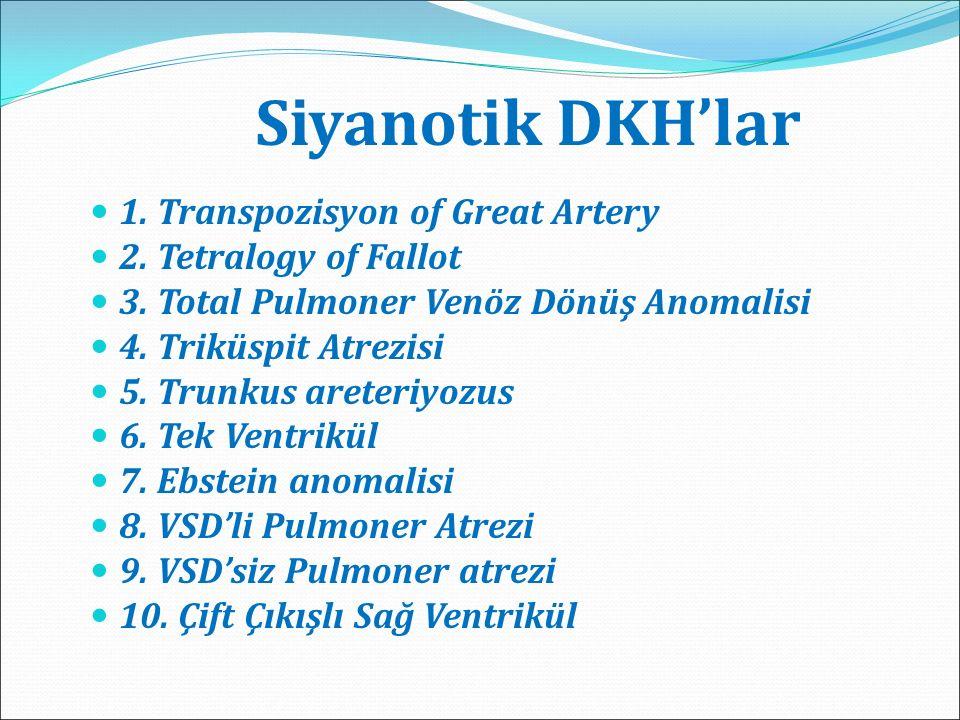Siyanotik DKH'lar 1. Transpozisyon of Great Artery 2. Tetralogy of Fallot 3. Total Pulmoner Venöz Dönüş Anomalisi 4. Triküspit Atrezisi 5. Trunkus are